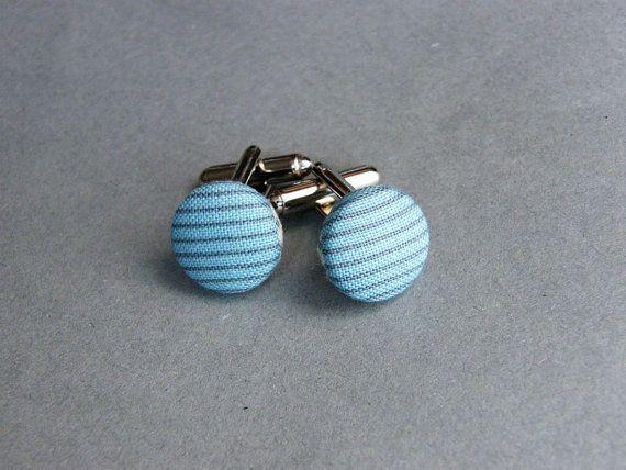 Blue Fabric Covered Button Blue Cuff Links Men by JoannaBizu, $11.90