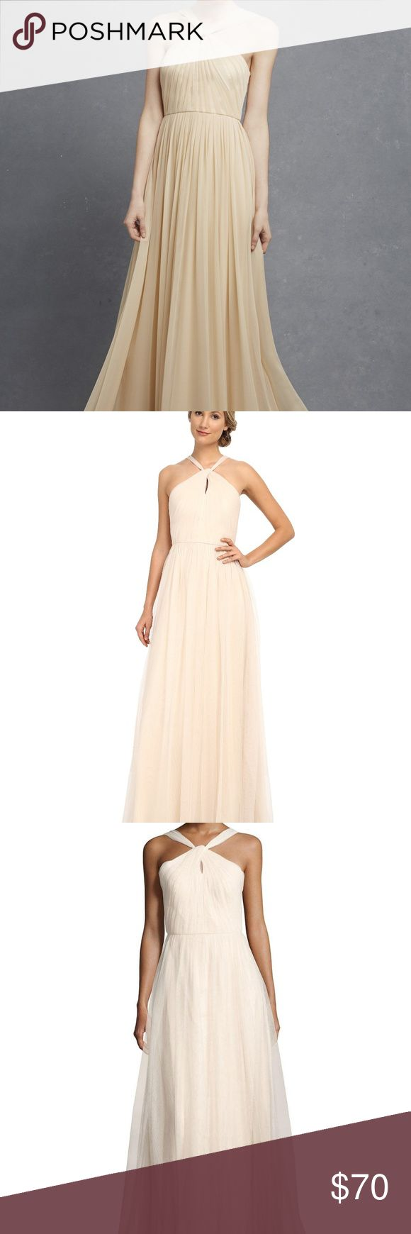 Donna Morgan Ava Mesh Almond Halter Gown 4 NWT Donna Morgan gown with pleated mesh overlay. Color is almond, can be described as a light beige/champagne. Halter neckline; front keyhole. Sleeveless; cut-in shoulders. Seam at natural waist. A-line silhouette.Straight hem. Polyester; acetate lining. Gorgeous for a bridesmaid or formal event! New with tags. Donna Morgan Dresses Maxi