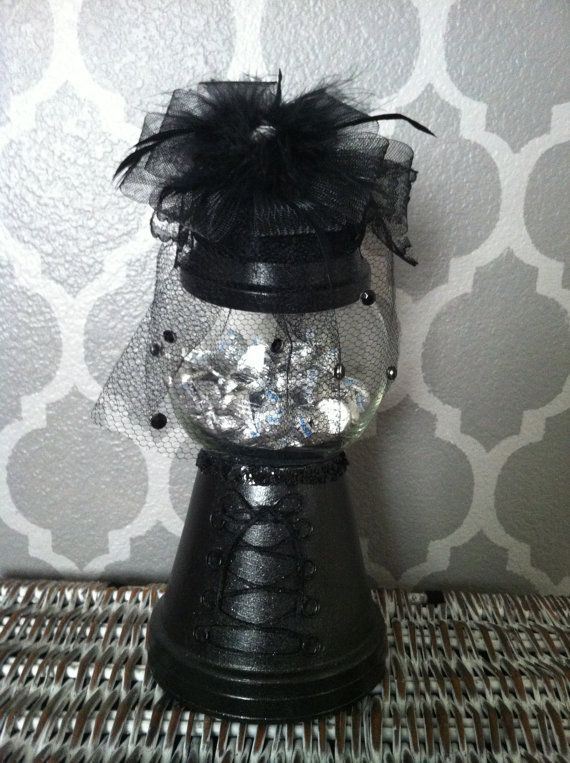 Black Jeweled Veiled Widow gumball clay pot candy dish