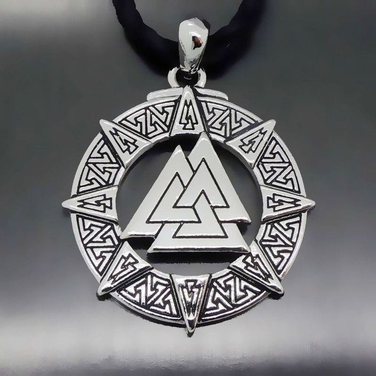Necklaces - Vintage Valknut Odin's Symbol Of Vikings Warriors Pewter Pendant Necklace