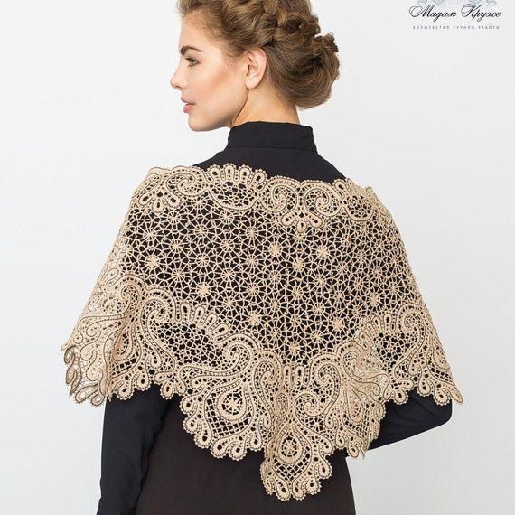Bobbin Lace shawl Firebird Russian bobbin lace by MadamKruje