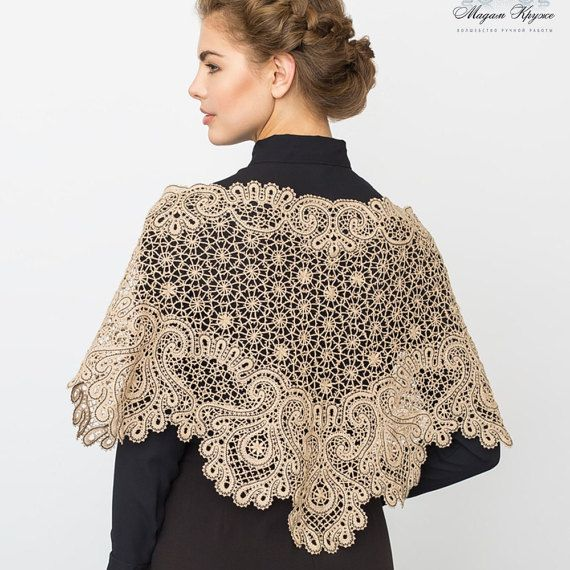"Lace shawl ""Firebird"" Кгыышфт bobbin lace handmade shawl made of cashmere and silk"