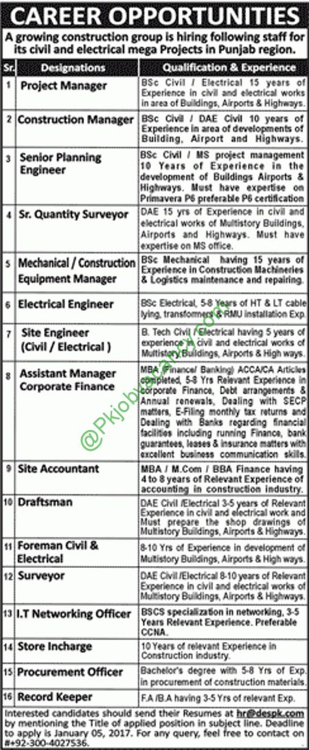 DESPK Civil & Electrial Mega Projects Jobs 2017 For Engineering, Admin, Finance, IT & Staff