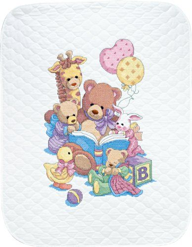 $34.67-$36.99 Baby Dimensions Needlecrafts Stamped Cross Stitch, Teddy and Friends Quilt - Teddy and his friends are gathered to read a bedtime story on this sweet-as-can-be quilt. You will stitch these animal buddies in vibrant colors of cotton thread. Look for the matching stamped cross stitch birth record, kit #72916. Kit contains cotton thread, design printed in ink that fades with washing o ...
