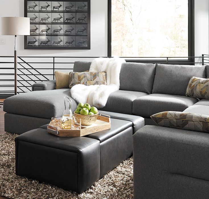 The La-Z-Boy Depot Premier ottoman offers spacious storage and extra seating, making it ideal for a family or media room. Plus, PIN TO WIN an ottoman! Get contest details at http://houseandhome.com/la-z-boy | #LaZBoy #Furniture #Ottoman #SmallSpace #Storage