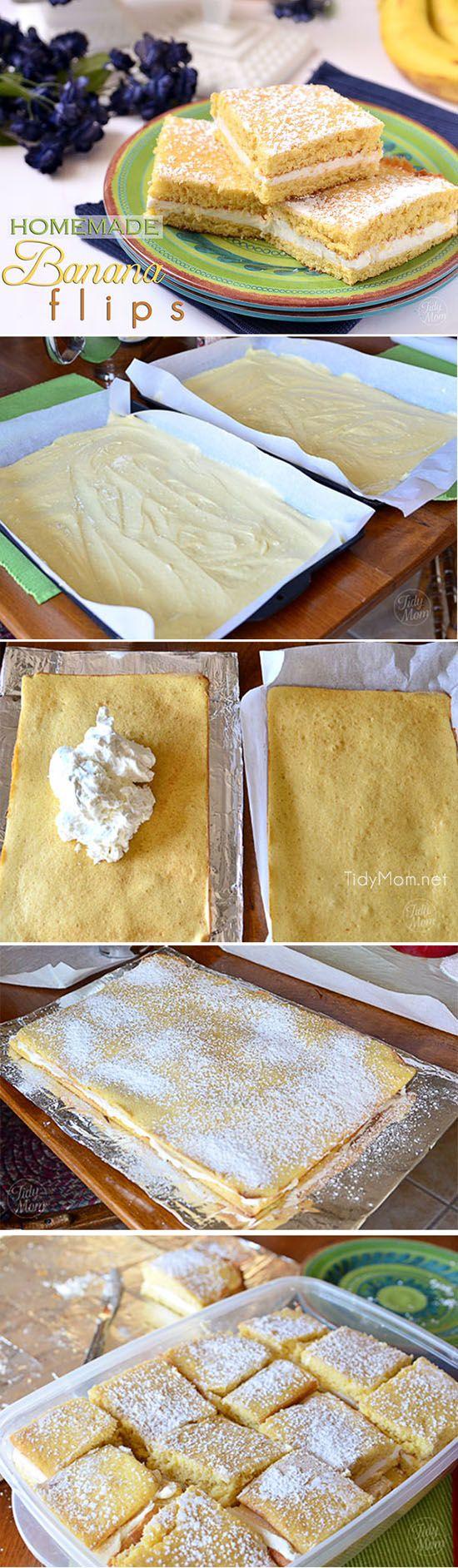 Homemade Banana Flips recipe at TidyMom.net Two moist layers of banana cake with a fluffy banana cream filling.