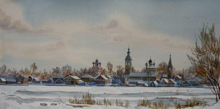 Вид с берега на Осташков