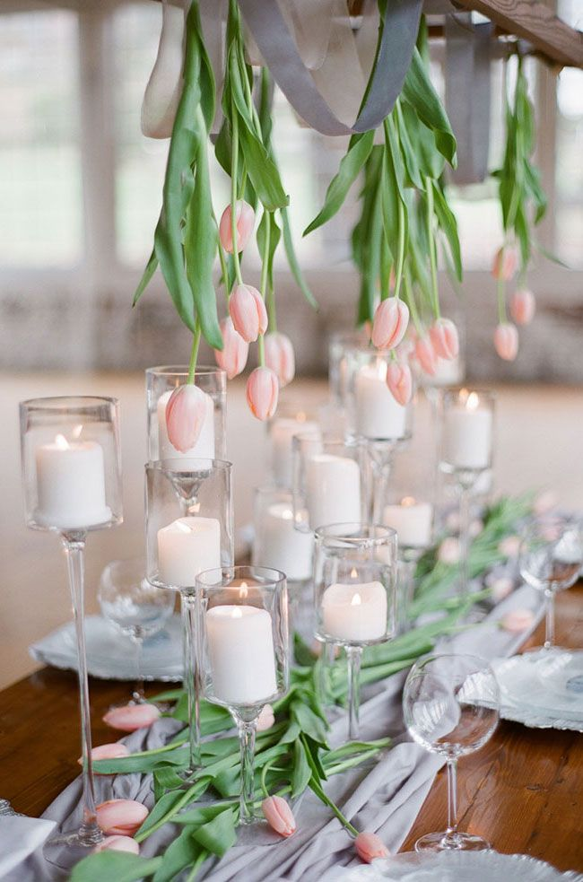 Romantic Pale Pink Tulips Wedding Tablescape