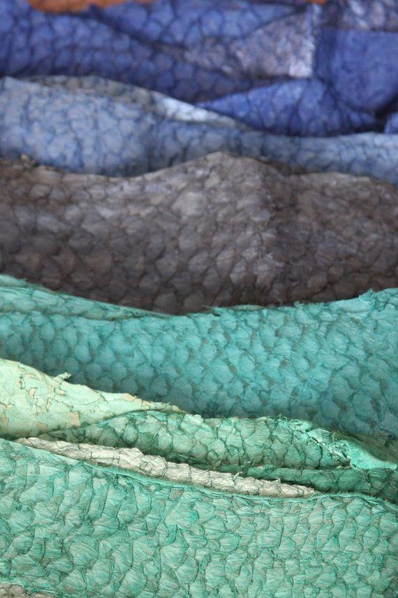 Lederen vis Skins Groenen en zilver links - uw keuze-ideaal voor Boekbinden, tijdschriften, sieraden