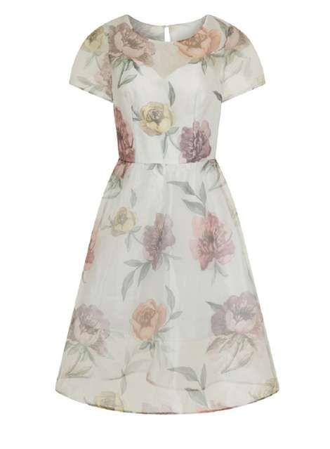 *Chi Chi London White Floral Midi Dress - View All Dresses - Dresses - Dorothy Perkins Europe