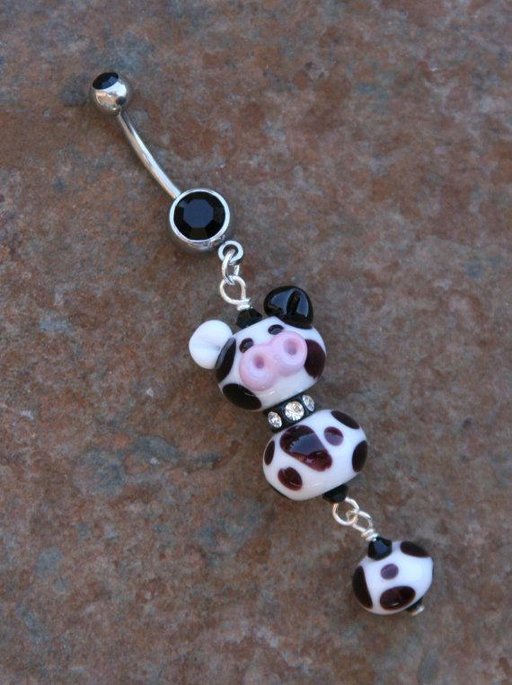 Moo Cow Dairy Lampwork DeSIGNeR Belly Button Ring by chuckhljal, $25.00