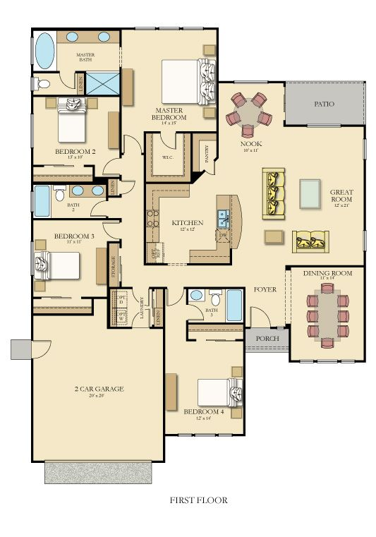 Muirwood X floor plan with Furniture but only 2 bay garage