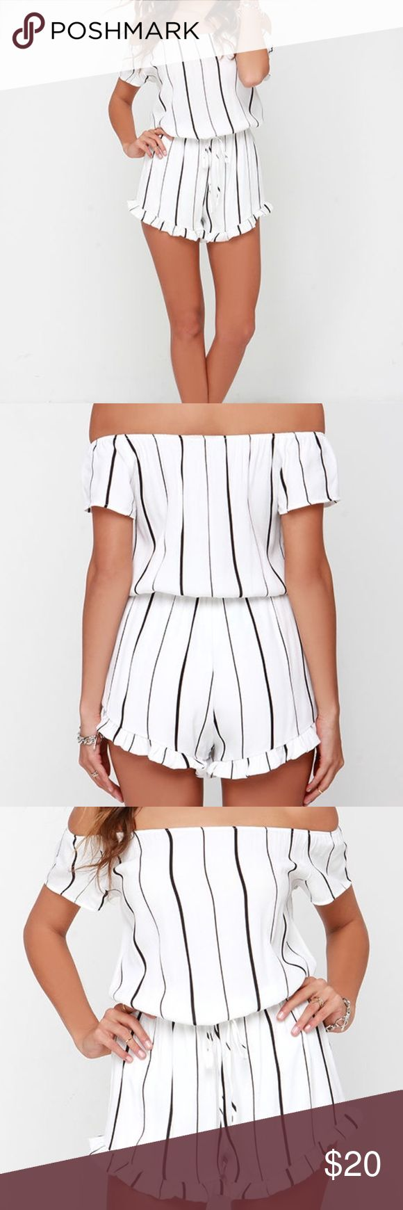 Lulu's Off The Shoulder Striped Romper Never worn off the shoulder, black stripes white romper with string-tie waist. Ruffles at the bottom. Lined. 100% rayon, hand wash cold. Price is set, no lower offers accepted. Lulu's Pants Jumpsuits & Rompers