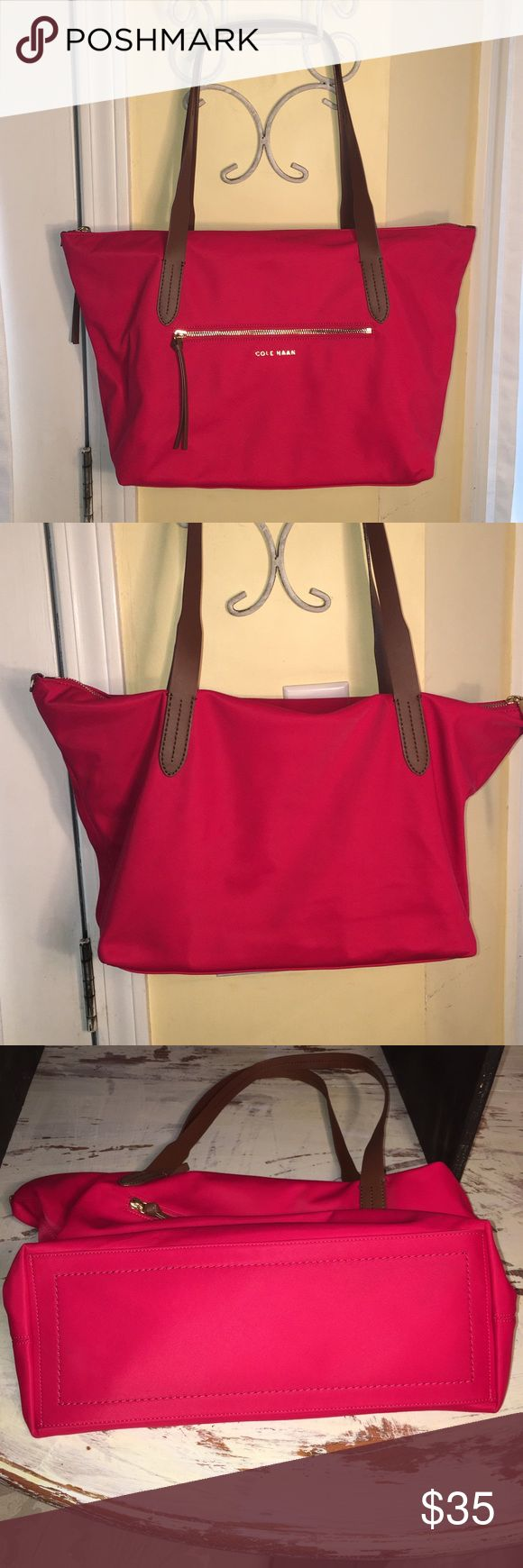Red Cole Haan Purse with leather trim Excellent condition red nylon/cotton blend Cole Haan Purse with brown leather trim and gold accents Cole Haan Bags Totes