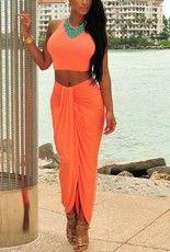 Dámsky set top + sukňa oranžový