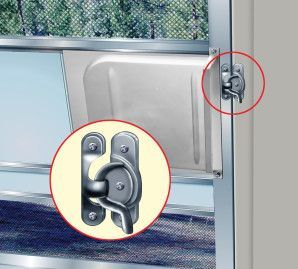 They used an old fashioned window sash lock for a more secure closure on the screen door.