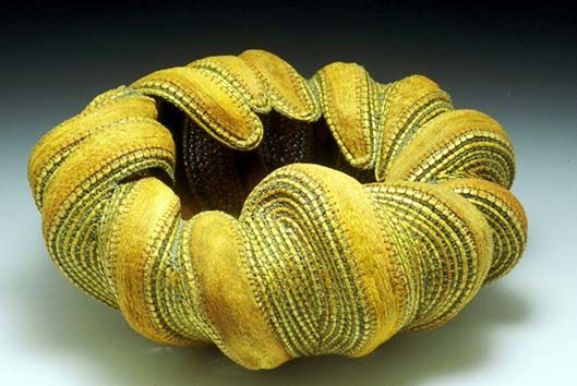 """Within"" - jan hopkins, 2002, Alaskan yellow cedar, waxed linen, and agave leaves"