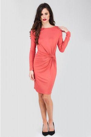 Rust Knot Detail Long Sleeve Jersey Dress