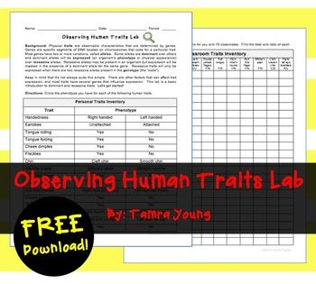 Genetics: Observing Human Traits Lab {{Freebie}}  Subjects Science, Biology, General Science Grade Levels: 6th, 7th, 8th, 9th, 10th Resource Types: Activities, Fun Stuff, Laboratory