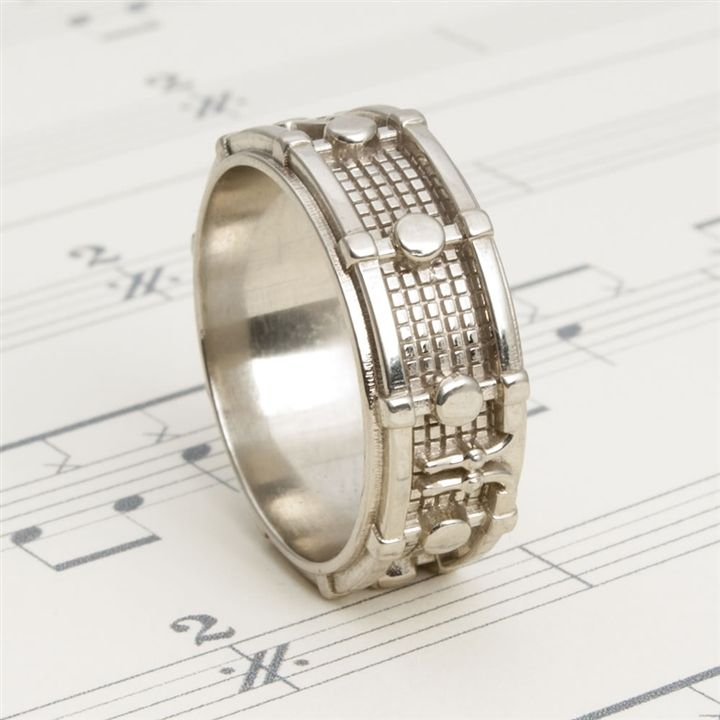 White Bronze Drum Ring at The Music Stand