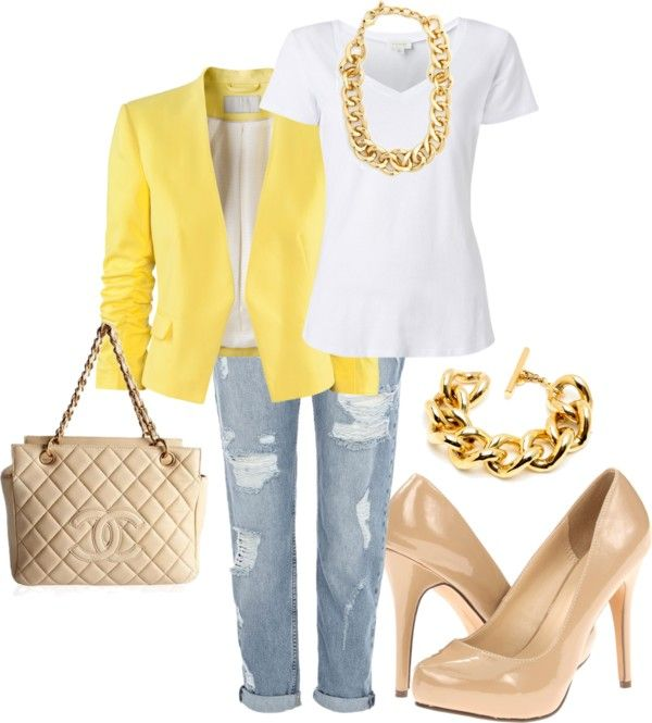 Different color bright blazer, white tee, boyfriend jeans, could do white purse (have) and nude heels (have) ... like the gold jewelry