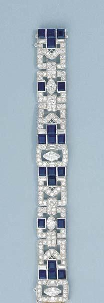 An Art Deco Diamond and Sapphire Bracelet