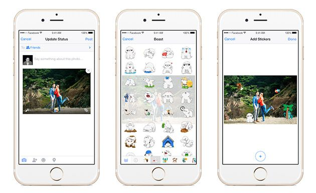 Oh boy: Facebook for mobile lets you add stickers to photos. | #socialmedia #mobile #Facebook