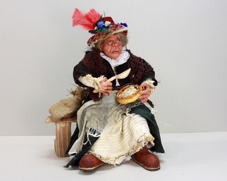POOR Old LADY OOAK Doll, handmade art doll, polymer sculpture, beggar old woma, miserables doll, sitting grandma doll by LalkowniaDolls on Etsy