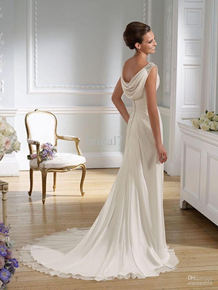 Victorian sheath wedding dresses sexy v neck chiffon for Sexy sheath wedding dress