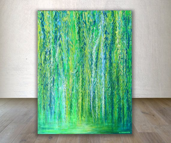 Wall Art Acrylic Painting Weeping Willow Tree Painting Tree Art Nature Painting Impressionist Painting Green Painting Impressionism