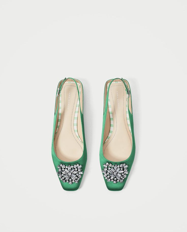 Image 1 of FLAT SLINGBACK SHOES WITH BEADED APPLIQUÉ from Zara