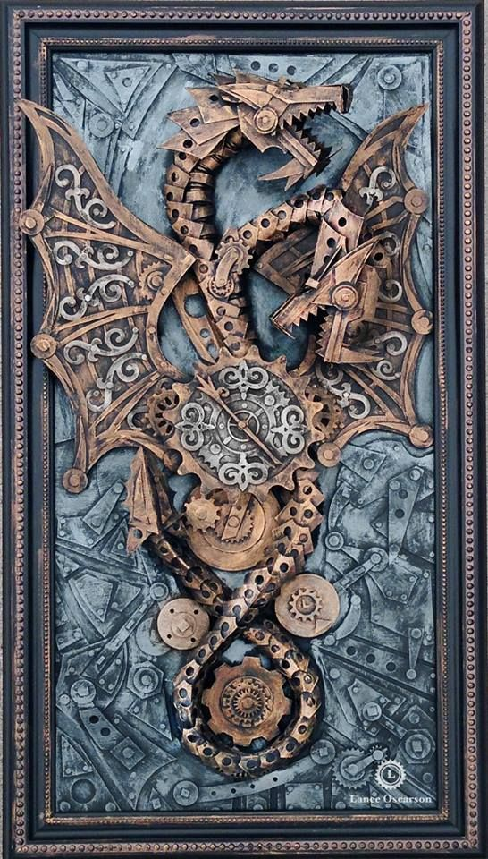 Fantasy | Whimsical | Strange | Mythical | Creative | Creatures | Dolls | Sculptures | Art Dragon with gears made from paper and cardboard.
