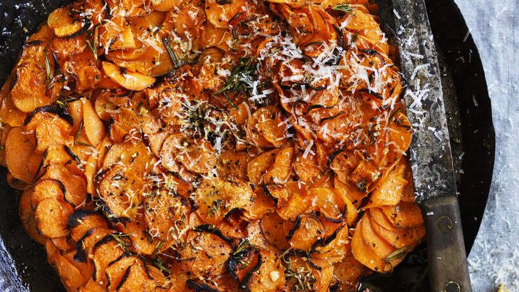 Neil Perry's simple sweet potato, garlic and rosemary gratin. A perfect side to roast meat or fish.