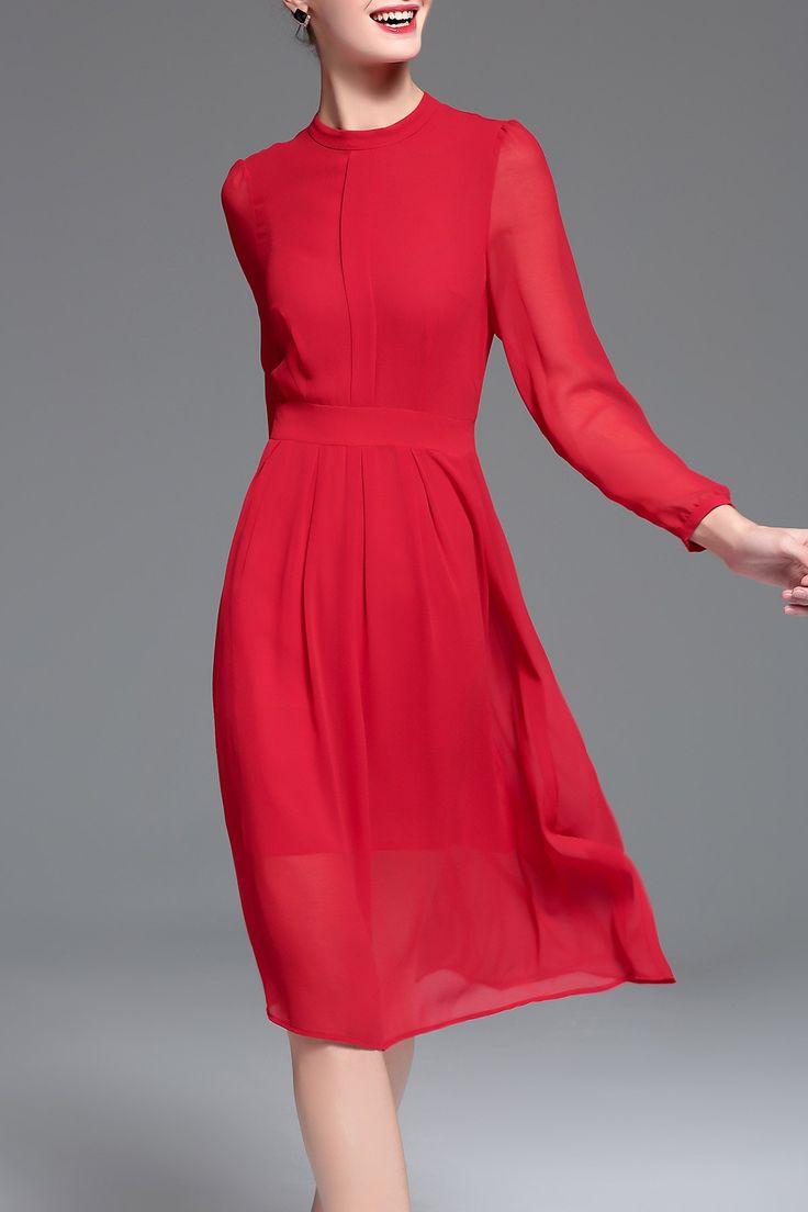Chiffon Long Sleeve Midi Dress