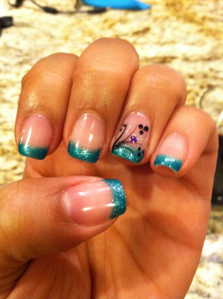 My nails-Gelish manicure turquoise tips and nail art!