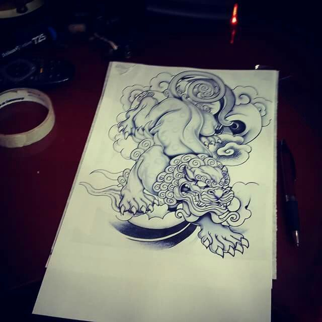 Foo dog tattoo design