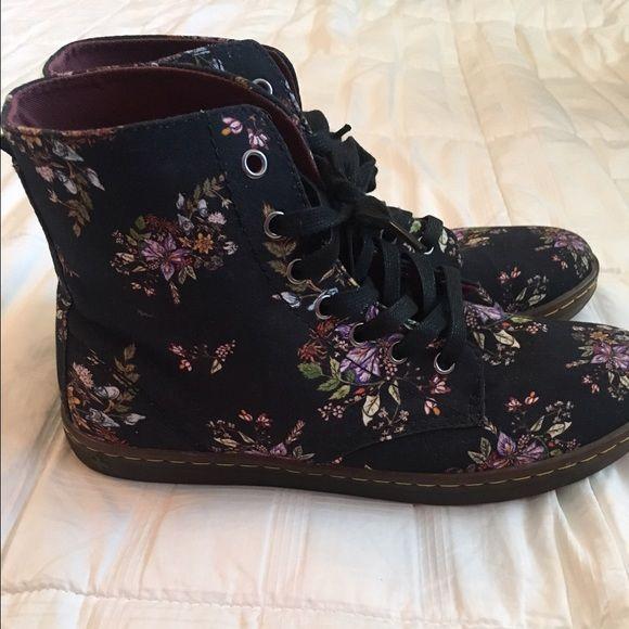 Dr. Marten's 1490 Floral Combat Boots Size 10 Dr. Marten's black floral combat boots. Practically new, worn only once Dr. Martens Shoes Combat & Moto Boots