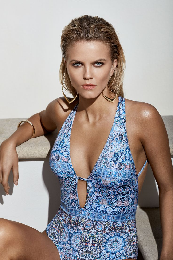 JETS Swimwear Encounter Plunge One-Piece  Swimsuit | Playing the blues with a kaleidoscope of colour is this deep plunged one-piece swimsuit with the JETS signature multi strap keyhole back.  The take home note is the devotion to detail is here to stay with a 70's-meets-global-citizen aesthetic.