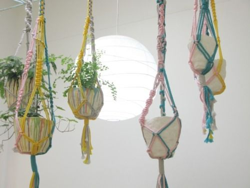 mrkitly:    Macrame hangers by Andrea Shaw and vessels by Leah Jackson.  Mr Kitly gallery installation