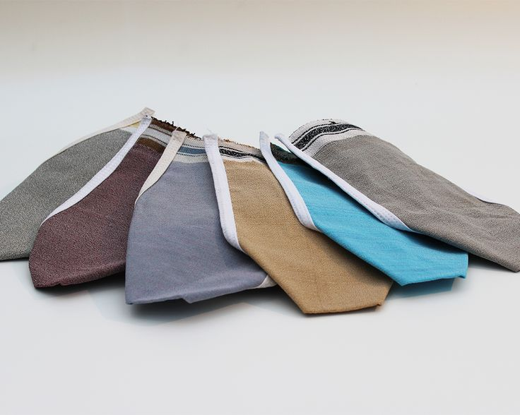 Alle meine Farben - Peelinghandschuh aus Fasern von Baumrinde handgewebt.