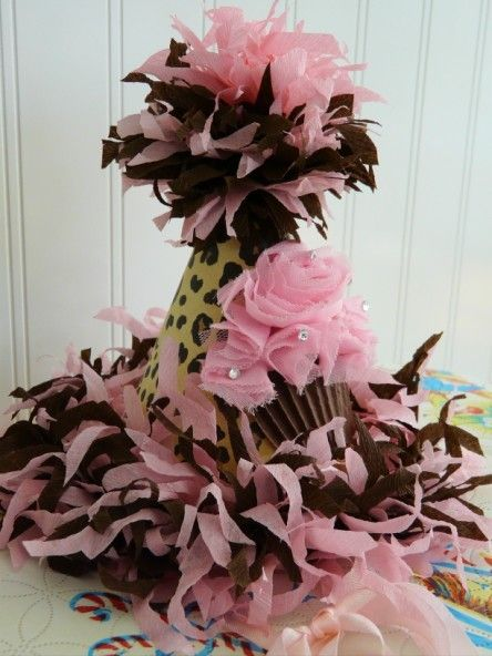 Party Hat with chiffon pink cupcake, bling sprinkles