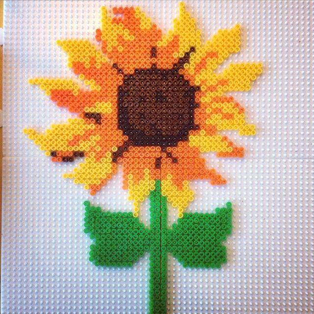 Sunflower hama perler beads by josefine_helena