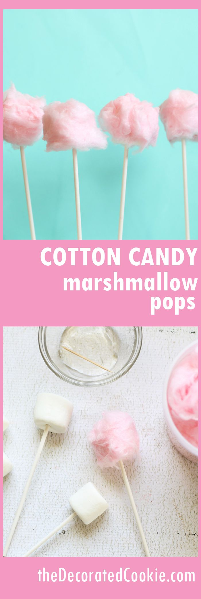 cotton candy marshmallow pops -- cute Valentine's Day treat