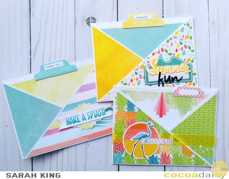 Summer Cards, by Sarah King using the Under the Sea collection from www.cocoadaisy.com #cocoadaisy #kitclub #scrapbooking #cards #planner #tabs #washi #diecuts #stickers #fussycut