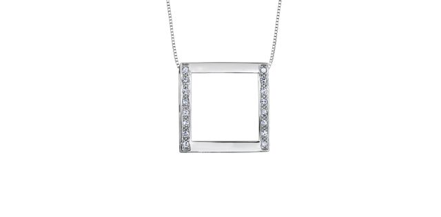10K white gold necklace with square station accented with 0.20 carat in diamonds - $429.00 #PoagWishList