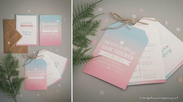 Trouwkaart Maarten & Natasja - Ontwerp Marjolein Vormgeving #trouwkaart #ontwerp #opmaat #trouwkaarten #persoonlijk #kaarten #trouwen #roze #blauw #kaart #labels