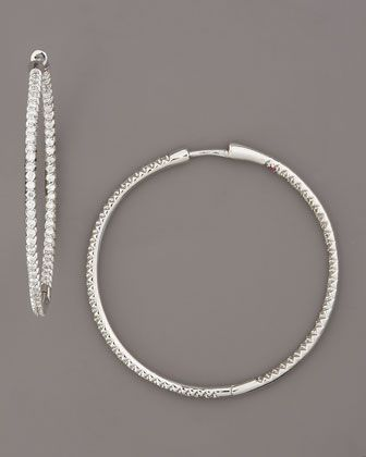 White Diamond Hoop Earrings by Roberto Coin at Neiman Marcus.