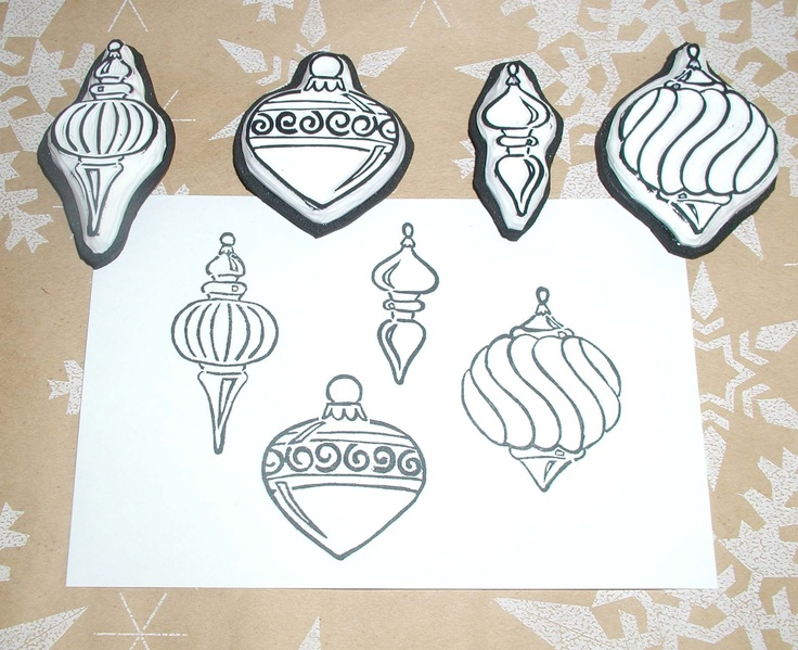 Ornament Stamp set (4 pc.). via Etsy.