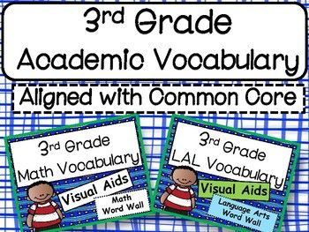 Academic Third Grade Language Arts and Math Words based on the Common Core. 165 Colorful posters.Save $3.00 buy buying the bundle.