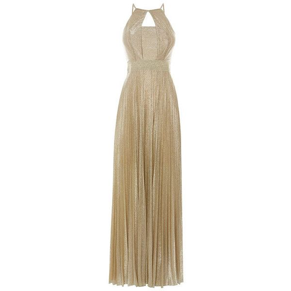 tyler soft maxi dress (245 NZD) ❤ liked on Polyvore featuring dresses, gold halter top, gold maxi dress, gold halter dress, red carpet dresses and brown maxi dress